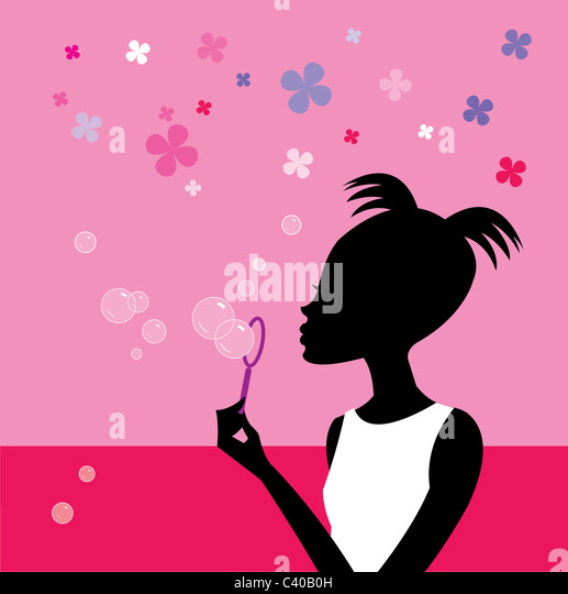 Illustration of a woman blowing bubbles - Stock Image