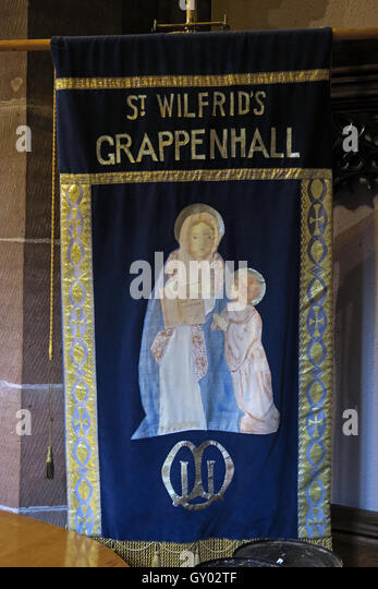 St Wilfrids Church Grappenhall- Mothers Union banner, Warrington - Stock Image