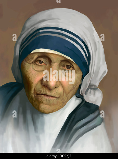 a portrait painting of mother teresa - Stock Image