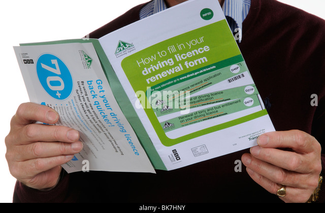 Driving Licence renewal form booklet & DLVA leaflet for drivers of 70 years plus. Man holding the documents - Stock Image