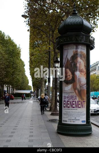 Advertising billboards along the Avenue des Champs-Élysées in Paris, France - Stock Image