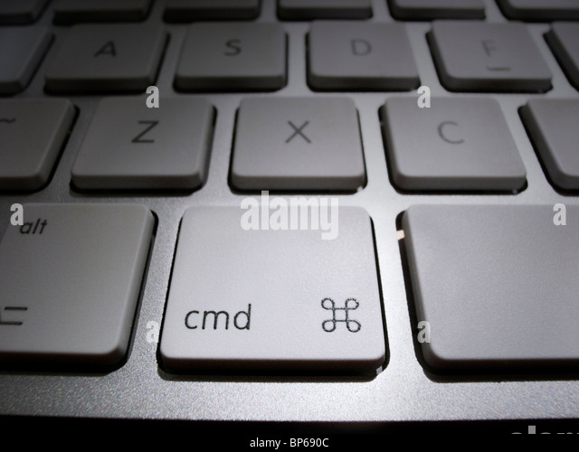Close-up of Command Key on iMac keyboard - Stock Image