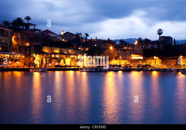 Lebanon, Byblos harbour at dusk - Stock Image