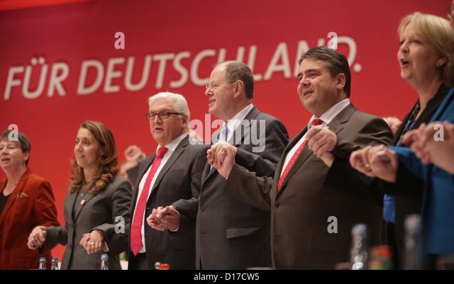 Barbara Hendricks (L-R), Aydan Ozoguz, Frank-Walter Steinmeier, chairman of the SPD parliamentary group, SPD chancellor - Stock Image