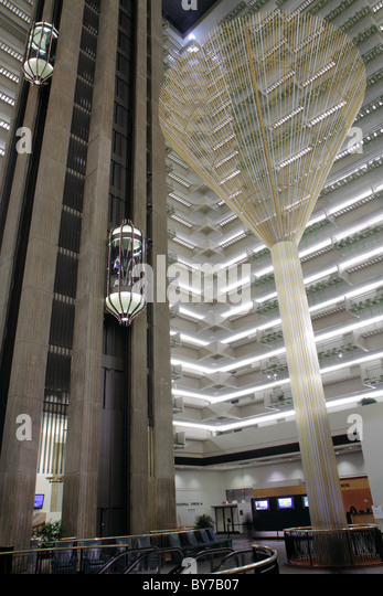 Atlanta Georgia Peachtree Street Atlanta Hyatt Regency hotel lodging business chain hospitality lobby atrium glass - Stock Image