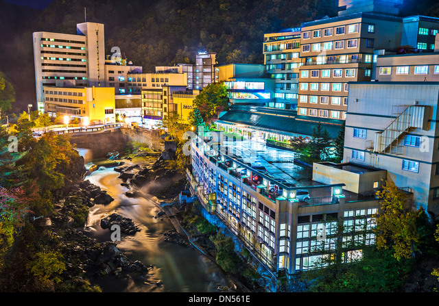 Hot Spring resort town of Jozankei, Hokkaido, Japan near Sapporo. - Stock-Bilder