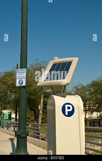 Solar Energy panel solar power going green Solar technology solar powered multi space parking meter Houston Texas - Stock Image