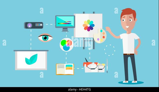 Man ability to visualize concept. Capability and talent, competence and potential, capacity and aptitude, skill - Stock-Bilder