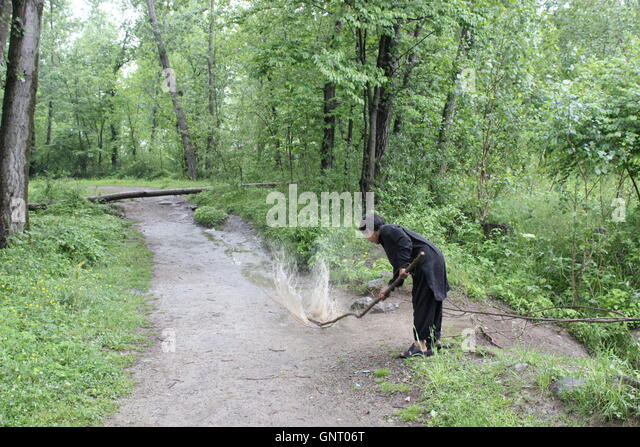 A fast shutter photograph of a boy smashing his staff in a puddle of  water, the photograph is taken in a green - Stock Image