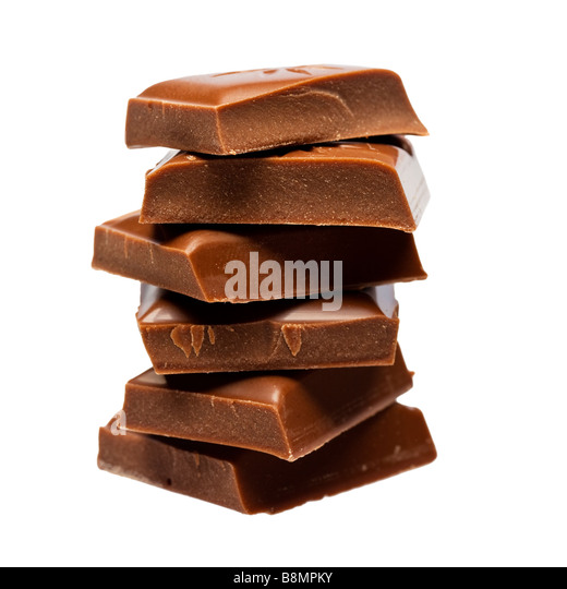 Stack of chocolate pieces cutout on white background - Stock Image