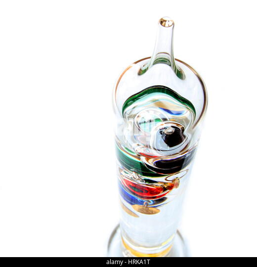 Shallow focus shot looking down on galileo thermometer - Stock Image