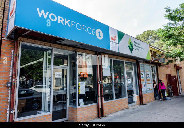 New York New York City NYC Queens Long Island City Workforce1 Career Center employment center storefront sign front - Stock Image