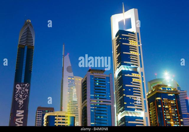 United Arab Emirates, Dubai, Sheikh Zayed Road. Skyline. - Stock Image
