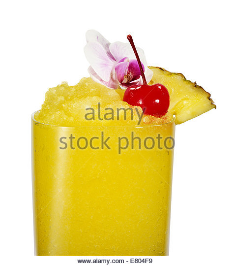 Pineapple Smoothie cocktail on white background - Stock Image