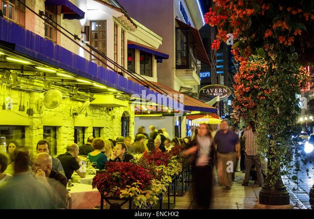 Chicago Illinois Gold Coast Historic District neighborhood nightlife night business dining Tavern On Rush Carmines - Stock Image