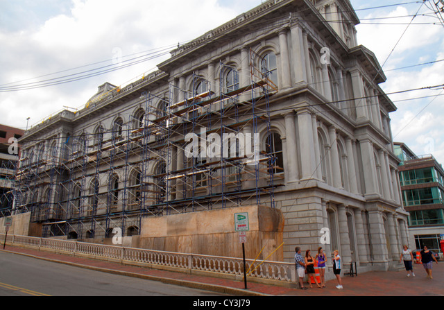 Portland Maine Historic Old Port District Fore Street Customhouse Second Empire and Renaissance Revival styles constructed - Stock Image