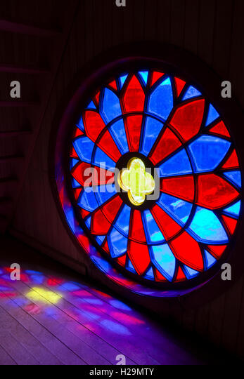 Stained-glass window. Museum of Chiloé churches. Ancud. Chiloé Island. Chile - Stock Image