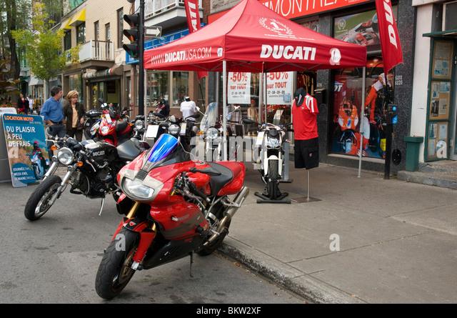 Boulevard saint laurent Little Italy Montreal canada - Stock Image