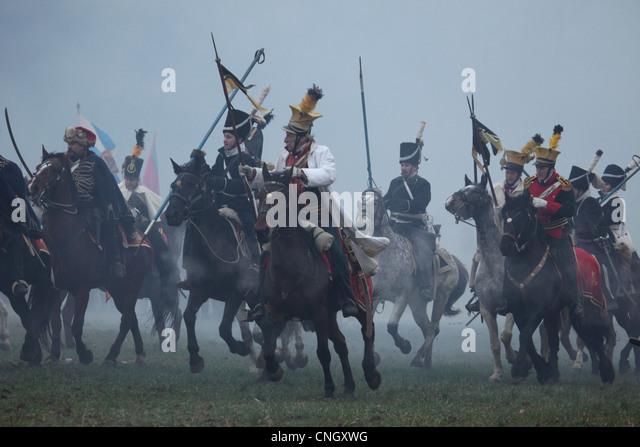 Austrian cavalry. Re-enactment of the Battle of Austerlitz (1805) at Santon Hill near the village of Tvarozna, Czech - Stock Image