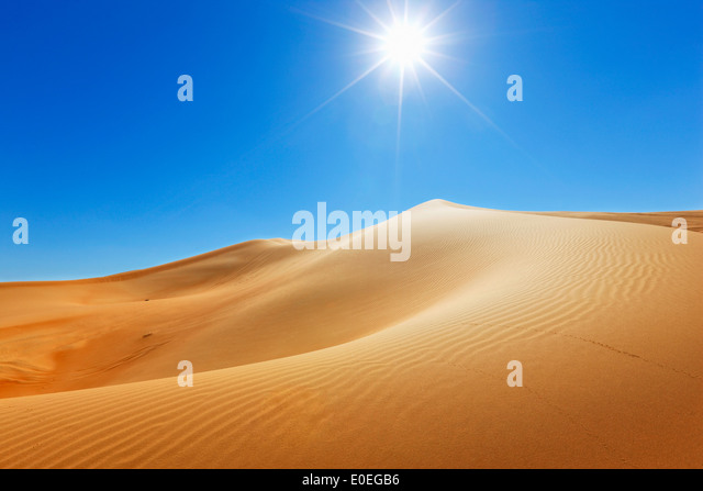 Sand dune, nature landscape with sun on the top - Stock Image
