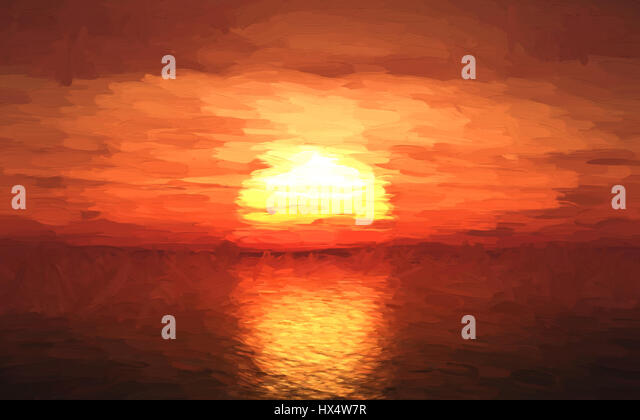 Oil painting of the sun setting over the ocean - Stock Image
