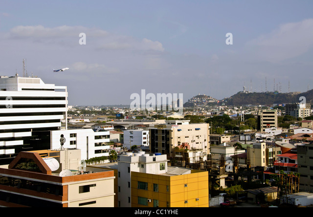 Quayaquil, Ecuador, city scenic airplane taking off  taken from above - Stock Image
