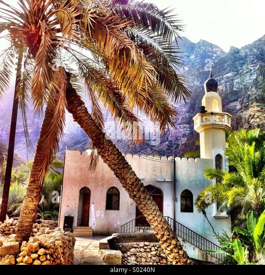 Mosque in lush oasis, Oman - Stock Image