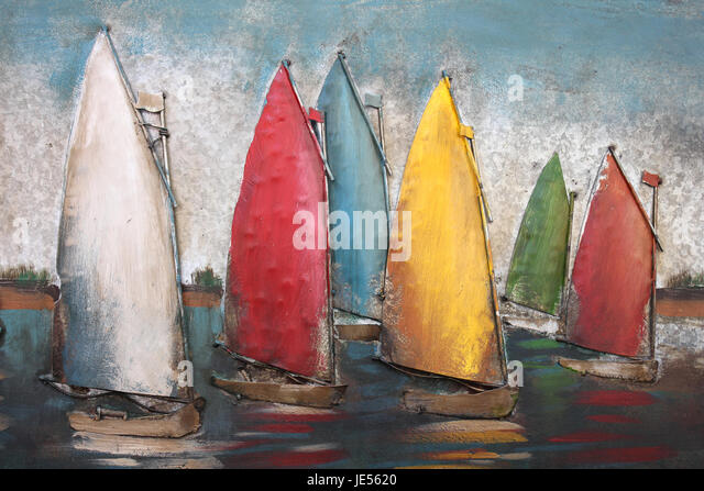 Metal Sailing Artwork - Stock Image