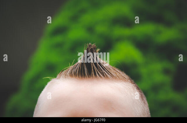 A spiked hair cut on a boy. - Stock Image