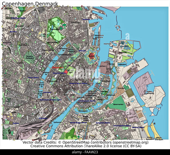 Copenhagen Denmark city map - Stock Image