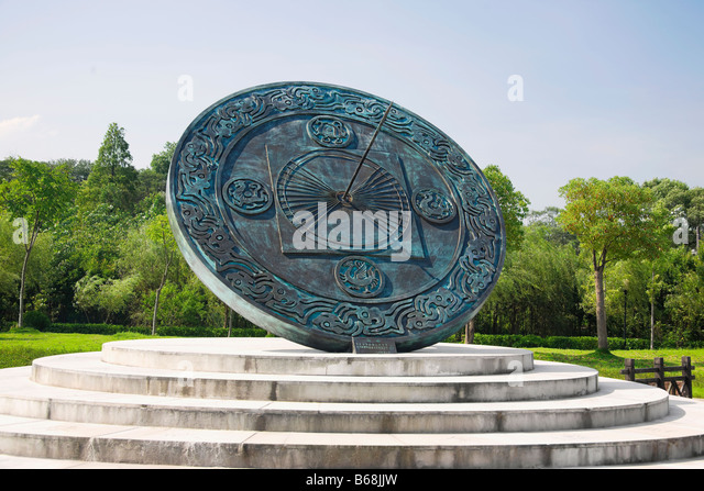 Chinese sundial in a garden, Xidi, Anhui Province, China - Stock Image