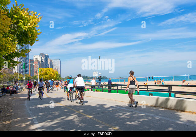 Chicago Oak Street Beach, Bicycles Bicycle Path - Stock Image