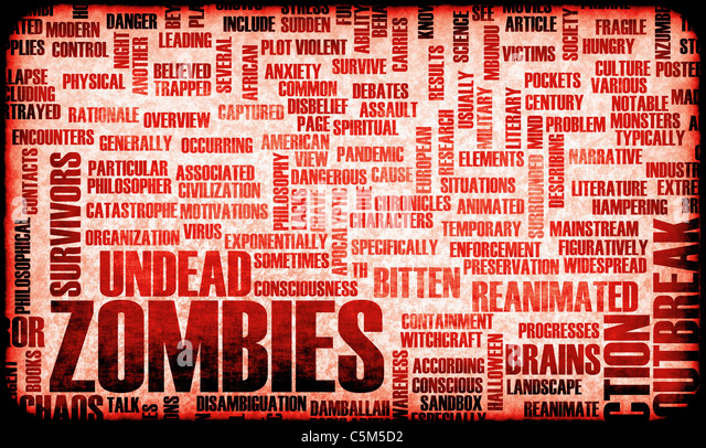 Zombies in the Undead Apocalypse Outbreak Art - Stock Image