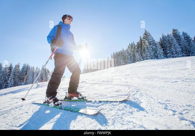 ski in Alps, winter sport, young skier on the slope in sunny day - Stock-Bilder