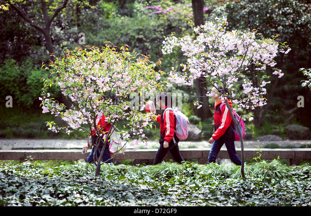 School children visiting the Humble Administrator's Garden, Suzhou, China - Stock Image