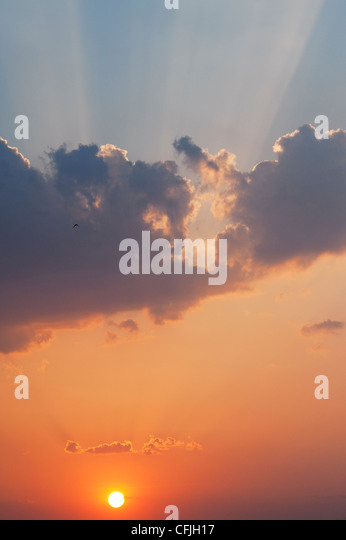Indian sunset sky. Andhra Pradesh, India - Stock Image