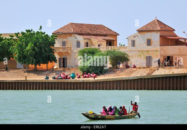 Border town on the river Senegal, Lekseiba II, Brakna region, Mauritania - Stock Image
