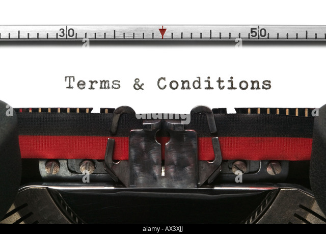 Terms Conditions on an old typewriter in genuine typescript - Stock-Bilder