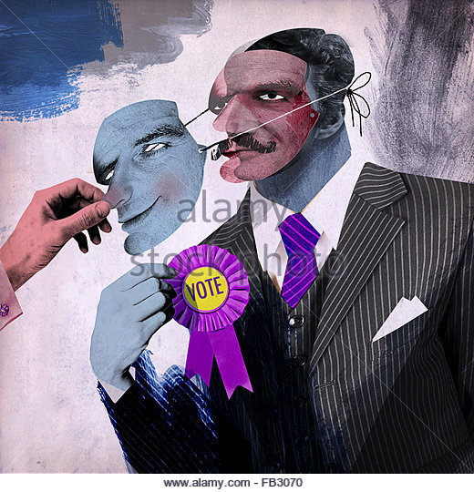 Man removing mask from untrustworthy politician - Stock Image