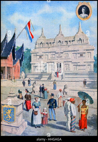 Illustration showing the Dutch East Indies (Indonesia), Pavilion, at the Exposition Universelle of 1900. - Stock Image