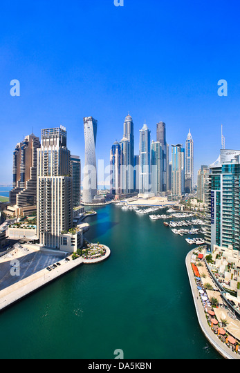 United Arab Emirates, UAE, Dubai, City, Dubai Marina, Dubai, architecture, boat, boats, buildings, construction, - Stock Image
