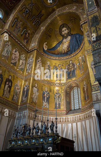 Interior of the medieval Cathedral of Monreale, one of the greatest examples of Norman architecture in t - Stock Image