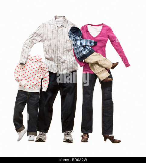 A family made from clothes - Stock-Bilder