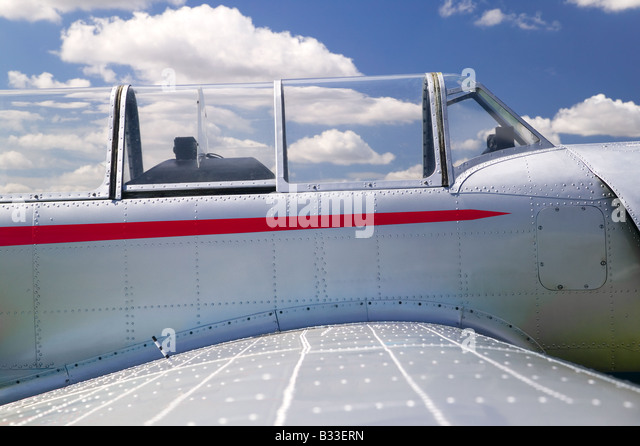 Close up of the cockpit from an old retro aeroplane - Stock Image