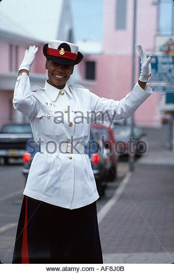 Bahamas New Providence Nassau Bay Street traffic patrol officer - Stock Image