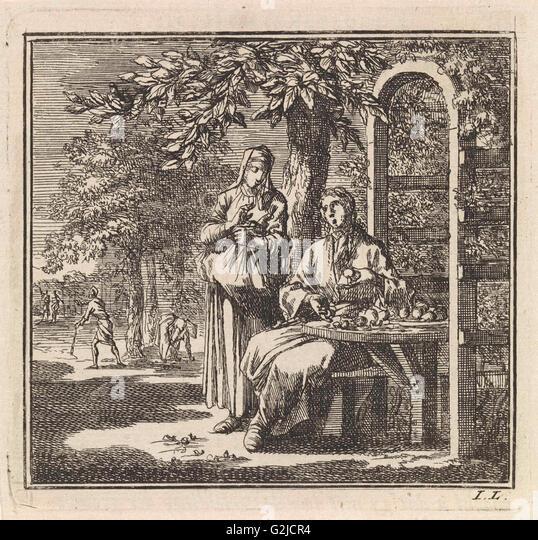 Man shows different notes to a woman, Jan Luyken, wed. Pieter Arentsz & Cornelis van der Sys (II), 1711 - Stock Image