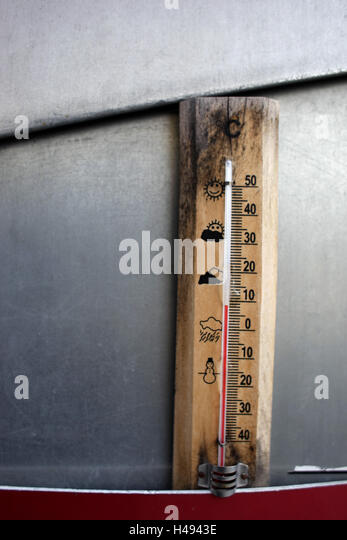 Thermometers, old, temperature, 9 degrees centigrade, - Stock Image