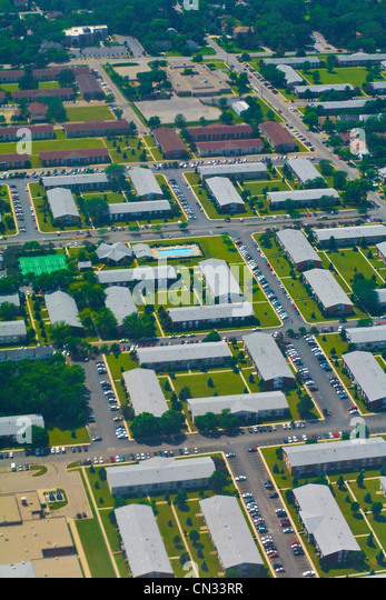Aerial shot of suburban houses, Chicago, Illinois, USA - Stock Image