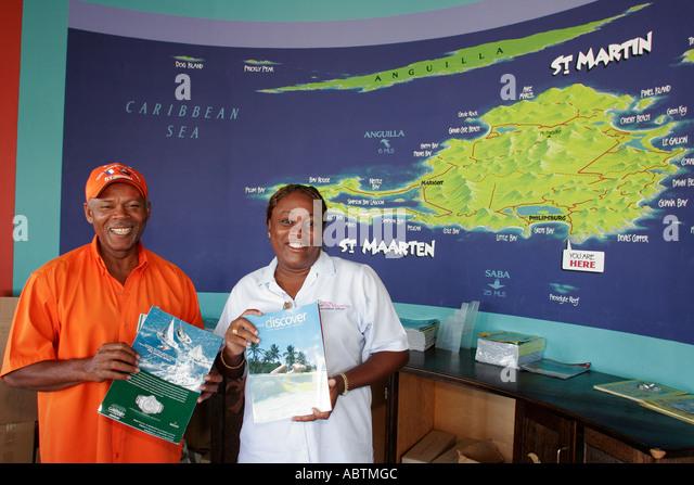 Sint Maarten Philipsburg Dutch Black female male visitors information map - Stock Image