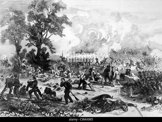 The Battle of Bull Run, General McDowell's Union forces routed by Confederates under General Beauregard and - Stock Image